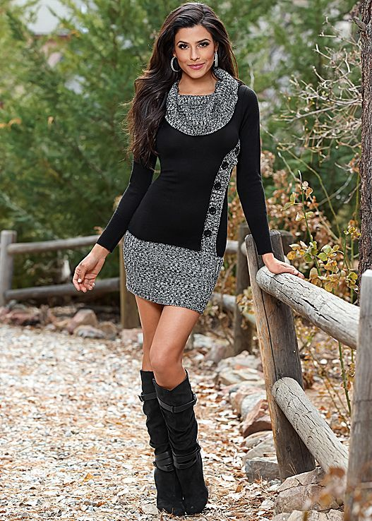 It's time to heat up your winter look with a fabulous sweater dress! Layer it with a pair of tights or just add some boots. Your look will be complete either way!