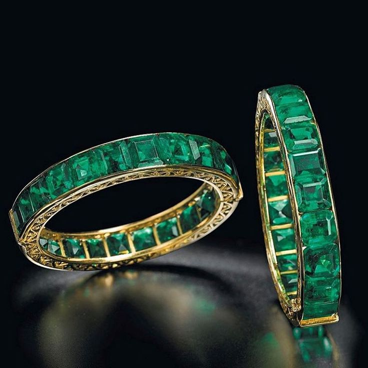 What a magnificent pair of emerald bangles and so rare to have survived intact…