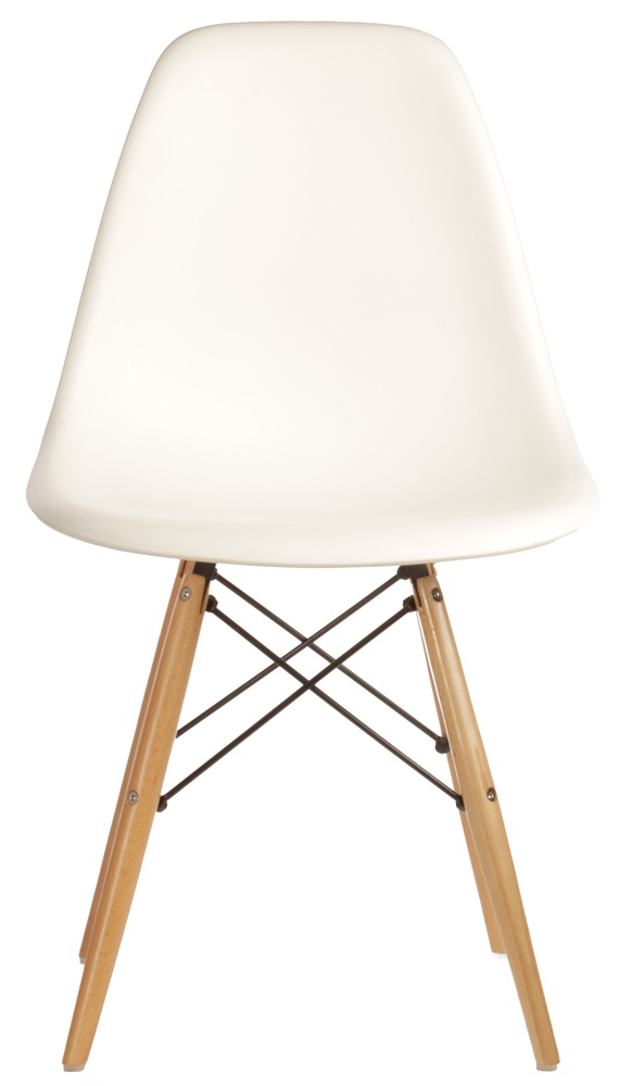 The Matt Blatt Replica Eames DSW Side Chair - white seat with beech legs only $69! Would be perfect chairs for casual family dining area