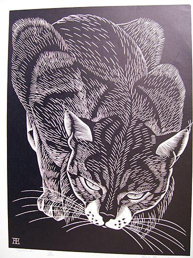 linoleum block print bobcat