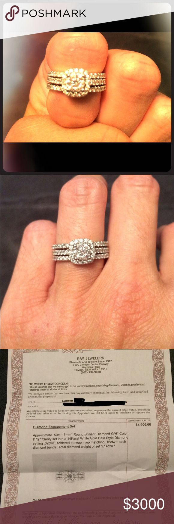 Diamond engagement rings Size 6 Diamond engagement ring set. Purchased at Jared. Worn once. Appraisal papers included. Jewelry Rings