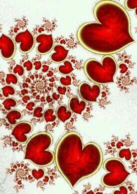 spiral spiraling circle of red hearts, ❤
