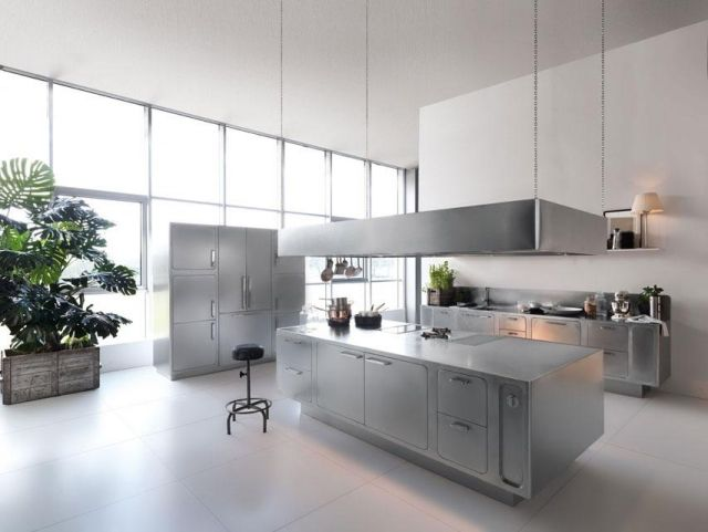 Edelstahl Kuchenmobel Modernes Design Kochinsel Einheiten Abimis Prisma Kucheninsel Stainless Kitchen Industrial Style Kitchen Und Modern Kitchen Design