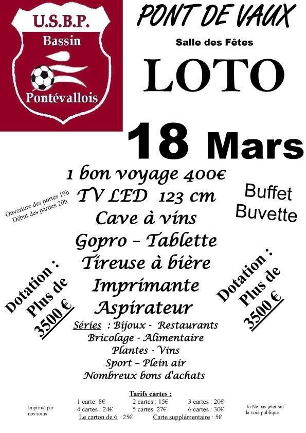 Le loto de l'USBP a lieu samedi à la salle des fêtes de Pont-de-Vaux.