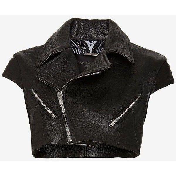 Barbara Bui Crop Leather Vest (645 CAD) ❤ liked on Polyvore featuring outerwear, vests, jackets, coats, shirts, genuine leather vest, leather vests, cropped leather vest, leather waistcoat and crop vest