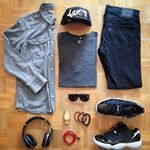 #Outfitgrid by @oliviergosseau featuring: Carhartt shirt, H&M tee, Levi's 511 pants, Air Jordan 11s, Billionaire Boys Club cap, RETROSUPERFUTURE sunglasses and Northskull bracelets.