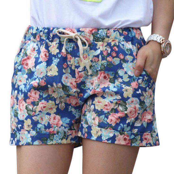 2016 Estilo Verão Shorts Moda Floral Elástico Na Cintura Com Cordão Calções Mulheres(China (Mainland))