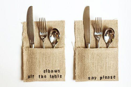 Para los cubiertos en la mesa. Cada funda nos dice una norma de educación en la mesa. #tablesetting #DIY http://pinterest.com/martablasco/boards/