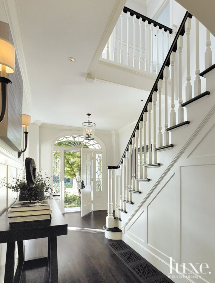 White dutch colonial revival entry luxe interiors design woodlawn pinterest entry - Home entrance stairs design ...