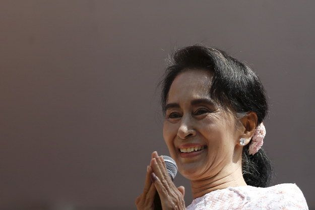 Myanmar's National League for Democracy (NLD) party — led by Nobel Peace Prize laureate Aung San Suu Kyi — looks set to win a landslide victory in the country's first openly contested elections in 25 years. | Aung San Suu Kyi's Opposition On Course For Historic Myanmar Election Victory - BuzzFeed News