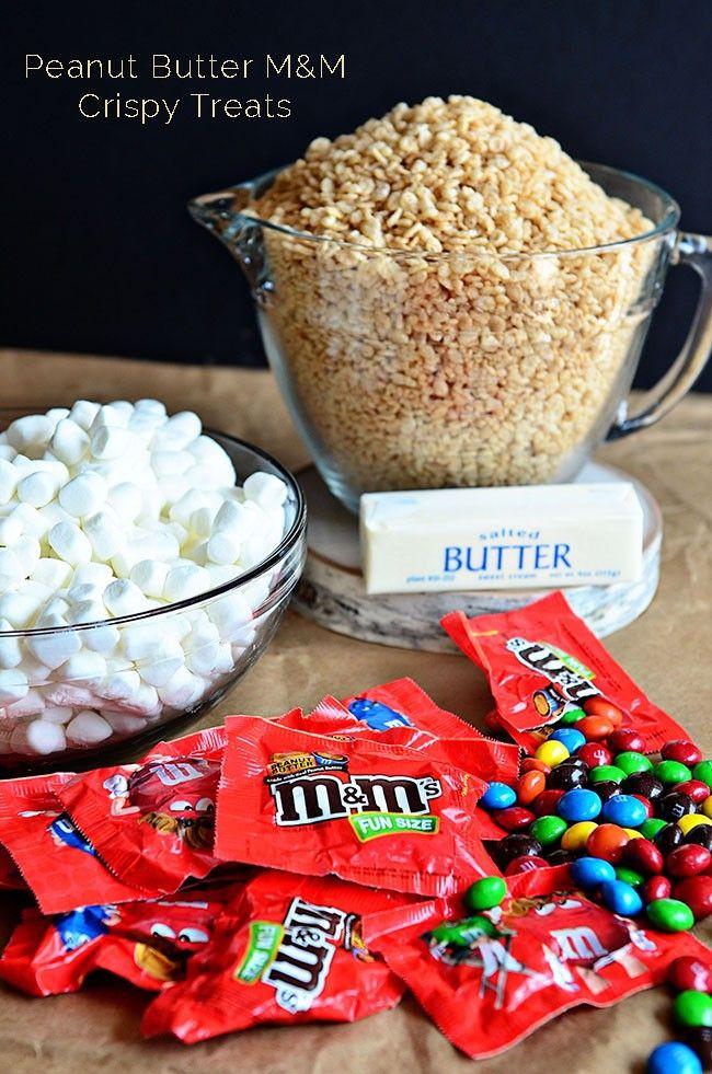 Peanut Butter M&M Crispy Treats// #BooitForward