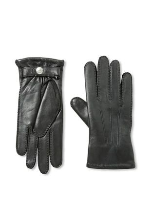 Portolano Men's Lined Snap Leather Gloves (Black)