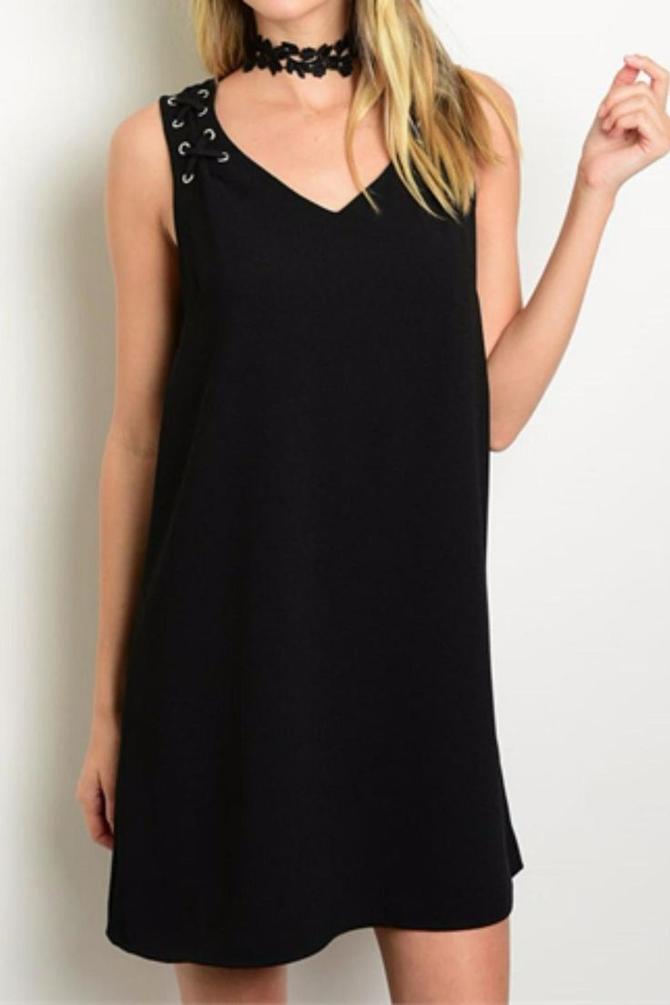 This sexy black shift dress has a lace-up detail on the shoulder.   Lace-Up Shift Dress by Humanity. Clothing - Dresses - LBD Columbus, Ohio