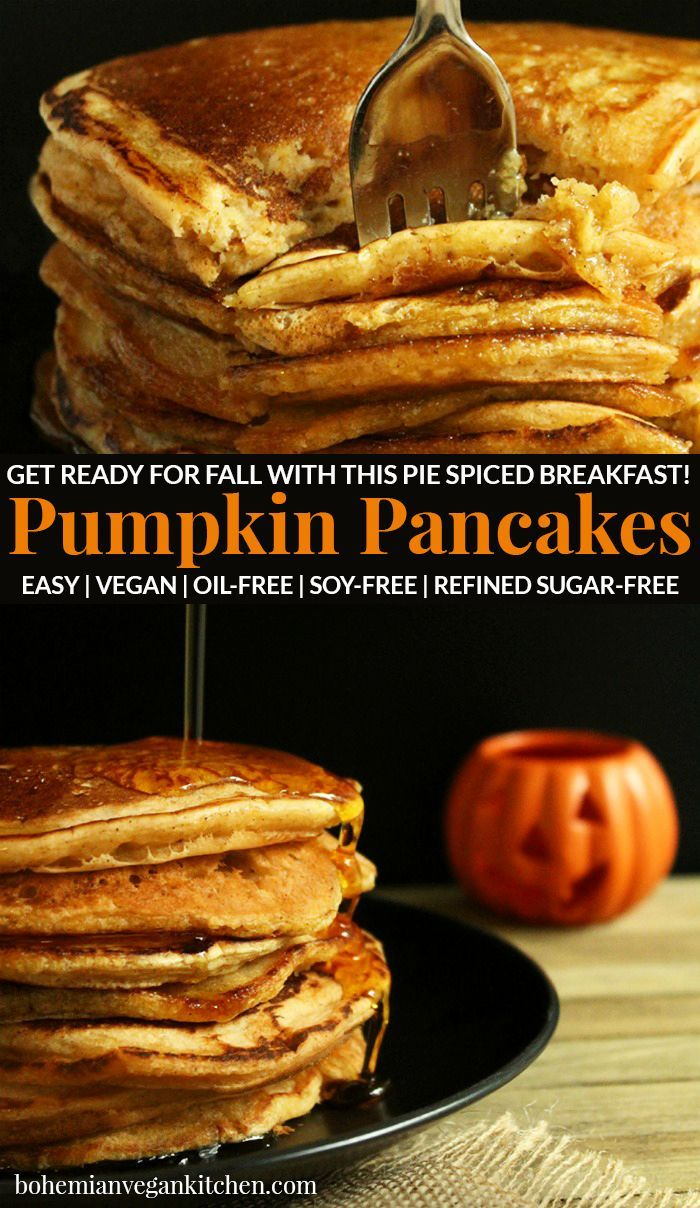 Enjoy the flavors of autumn for breakfast with these easy Pumpkin Spiced Vegan Pancakes! And no guilt here: the addition of the pumpkin makes these fl...