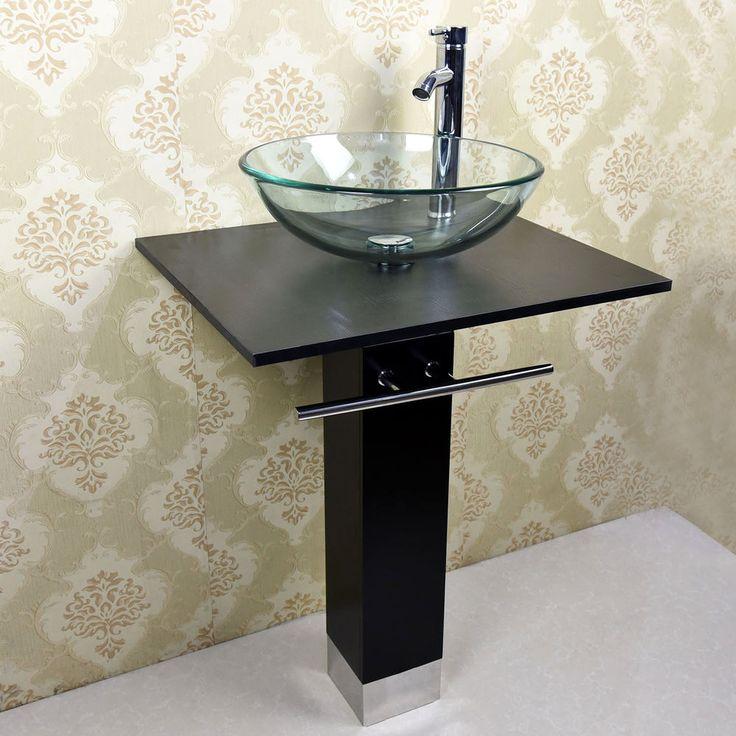 Modern 23'' Bathroom Tempered Glass Vessel Sink Vanity Pedestal  Combo W/Faucet  #WALCUT #Contemporary