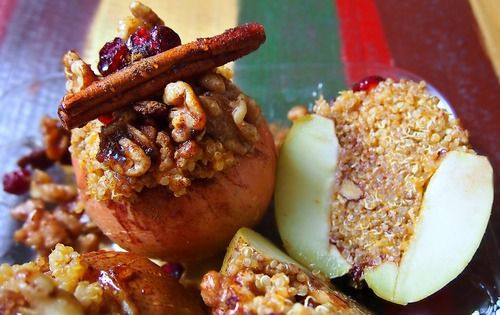 Pumpkin Quinoa Cinnamon Spice Baked Apples and Pears with Cranberry, Walnuts, and a Honey Glaze