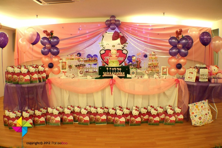Backdrop cake candy table decor setup for a hello for Background decoration for birthday party