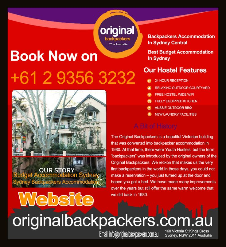 Book your stay at Original Backpackers and get an exciting opportunity to enjoy the holiday of your lifetime in Sydney. From five-star hotels to inner-city apartments, Original Backpackers, strive to make every stay memorable and convenient by providing the best accommodation with all facilities and amenities.