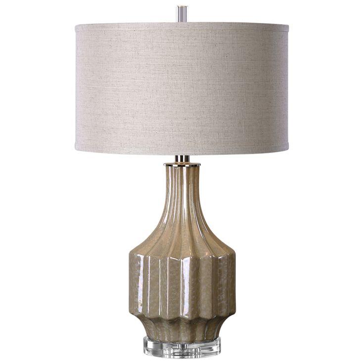 Soren Modern Classic Ribbed Glazed Brown Table Lamp