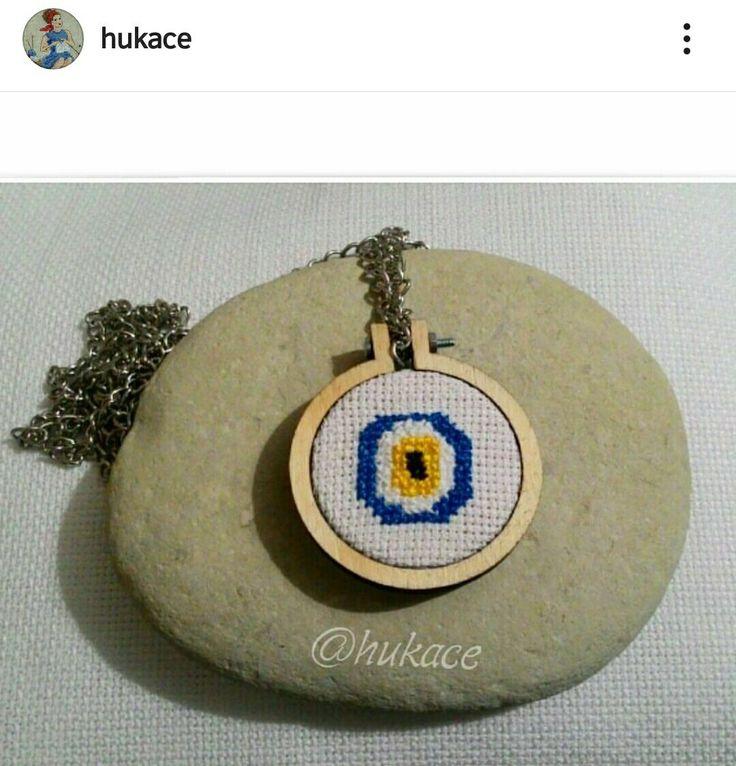 Etamin Nazar Boncuğu Kolye #etamin #kolye #crossstitch #hukace #necklace