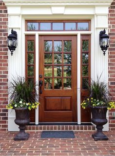 Exterior. glossed brown front door color for brick house mixed antique potted plants. Tempting Front Door Colors For Brick Houses Change The Old Opinion