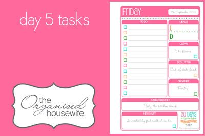 {The Organised Housewife} 20 Days to Organise & Clean your home - Day 5 tasks
