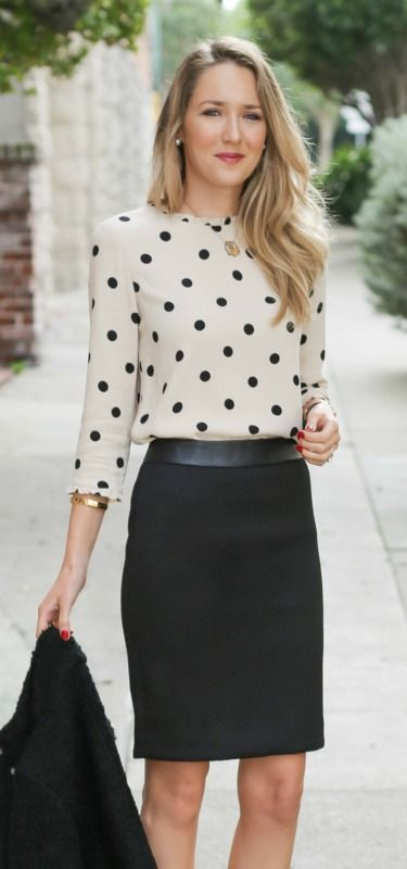 chevron textured black pencil skirt with leather waistband, boucle textured jacket, kate spade deco polka dot tan and black blouse + sjp collection pumps
