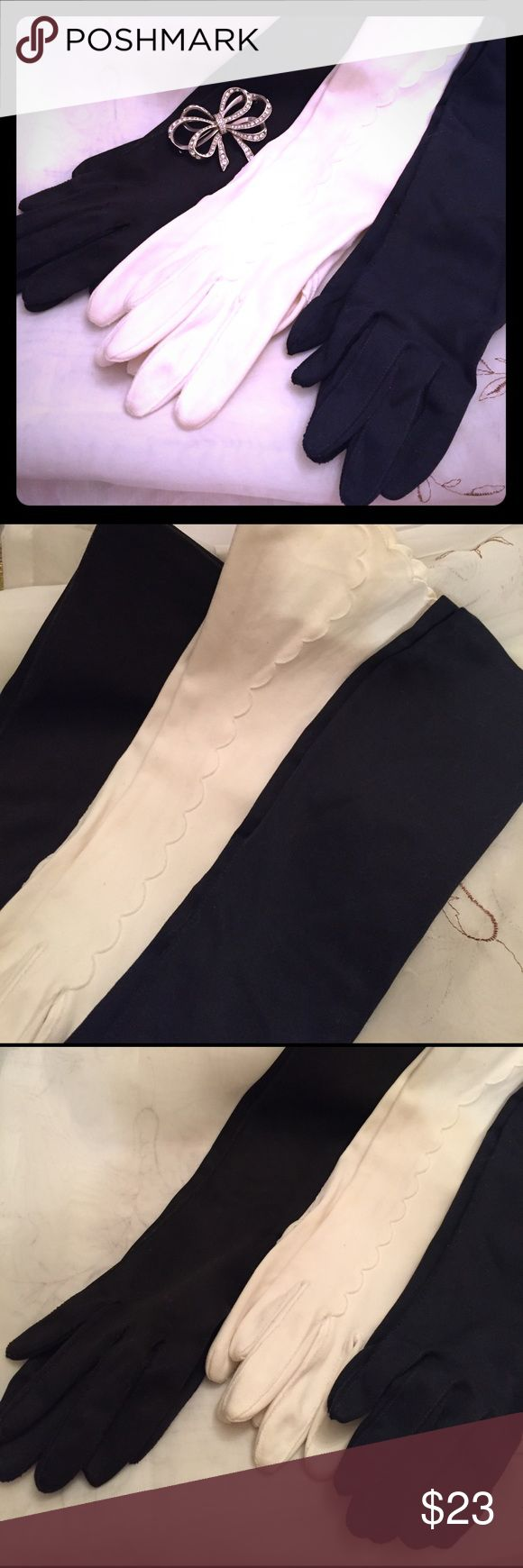 Vintage Ladies Old Fashion Gloves Long/three quarter length ladies old fashion gloves, black, dark navy blue, and white pair. Good condition, for small/petite hands, lovely for dress-up, or casual wear. Don't see these much in fashion. unknown Accessories Gloves & Mittens