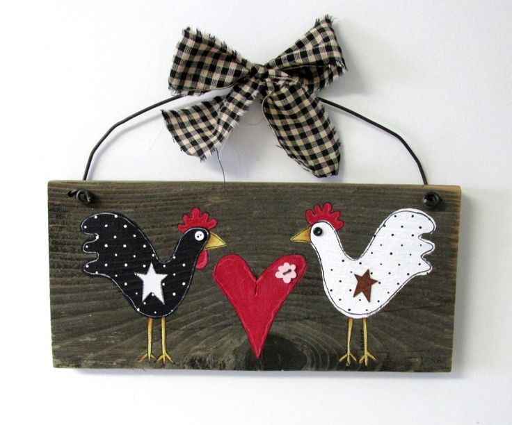Pair of Primitive Chickens Hand Painted on por barbsheartstrokes
