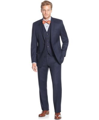 Lauren Ralph Lauren Slim-Fit Blue Birdseye Vested Big and Tall Suit | macys.com
