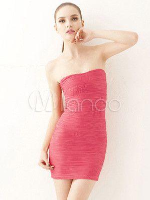 #Milanoo.com Ltd          #Mini Dresses             #Rose #Polyester #Pleated #Strapless #Short #Dress  Hot Rose Red Polyester Pleated Strapless Short Dress                                                    http://www.seapai.com/product.aspx?PID=5757896
