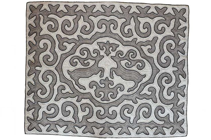 Elyk, handmade shyrdak felt carpet.