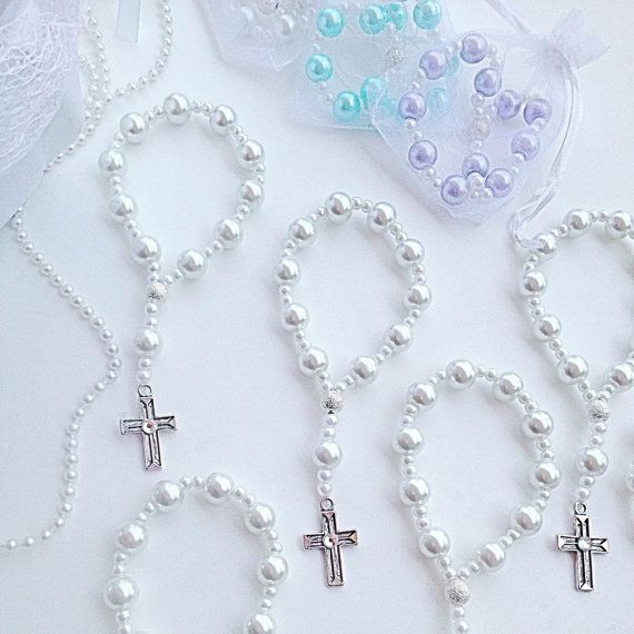 DOZEN Beautiful glass pearl Rosary bracelets. Perfect for