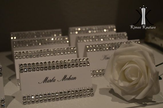 Set of 50 ELEGANT WEDDING BLING rhinestone tent cards place cards name cards escort cards.  Your custom names made to order by KimeeKouture