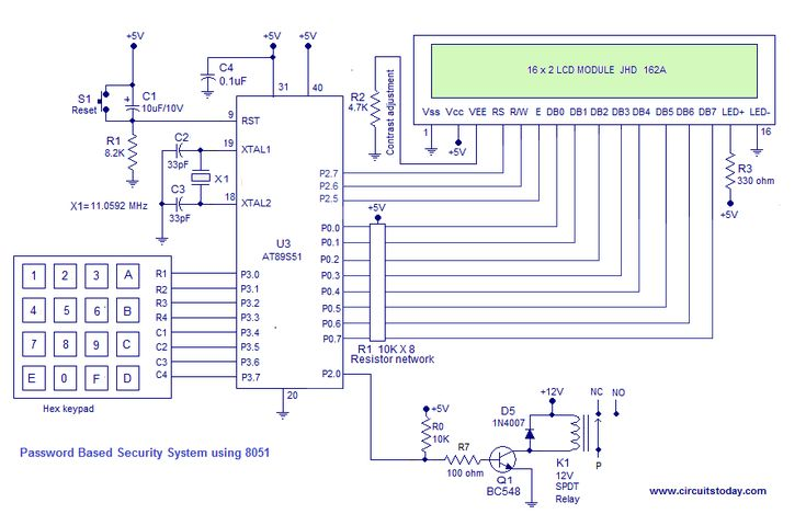 Diy Digital Door Lock Project A Password Based Security System Using 8051 How To Build Electronic Code Lock D Digital Door Lock Intruder Alarm Humidity Sensor