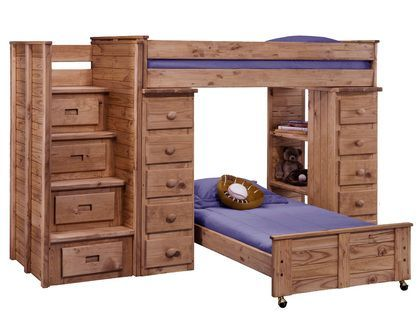 Chelsea Home 31104-5000 Twin Over Twin Loft Bed with Staircase Panel HB/FB Mahogany Stain