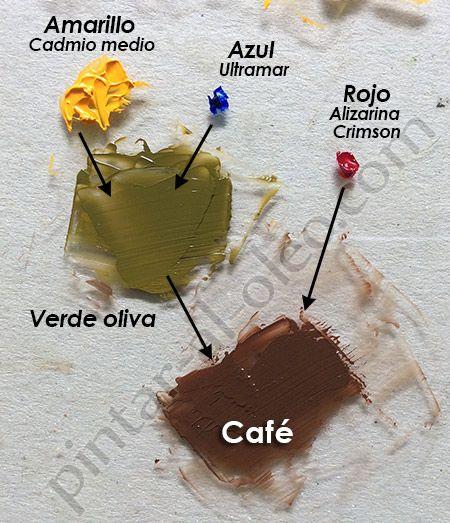 mezclar color cafe con verde y rojo