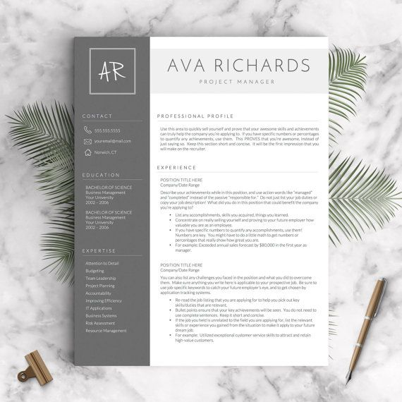 Modern Resume Template for Word and Pages, 1 - 3 Pages + Cover Letter + Tips | Modern Resume Template | INSTANT DOWNLOAD CV Template