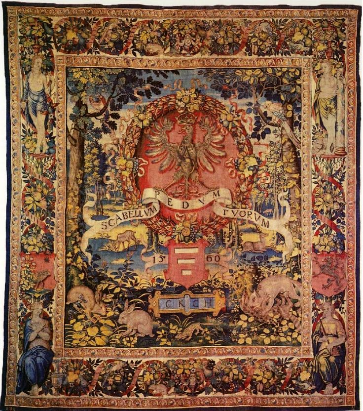 Throne tapestry of Sigismund Augustus by Anton Leyniers, 1560 (PD-art/old), Zamek Królewski na Wawelu, presented to the king by Krzysztof Krupski, starost of Horodło, adorned with Korczak coat of arms below Sigismund Augustus' Eagle and motto SCABELLVM PEDVM TVORVM (the footstool under your feet, Psalm 110, A Psalm of David)