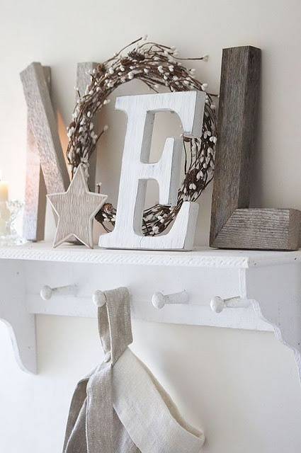 Christmas, i have a gold E, think i'll paint it and make the other two letters with some old wood :)