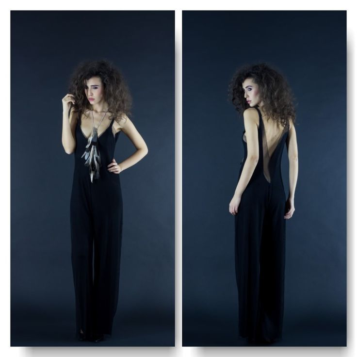 Black double jersey&mesh jumpsuit  Price: 300 RON Feather necklace  Price: 200 RON