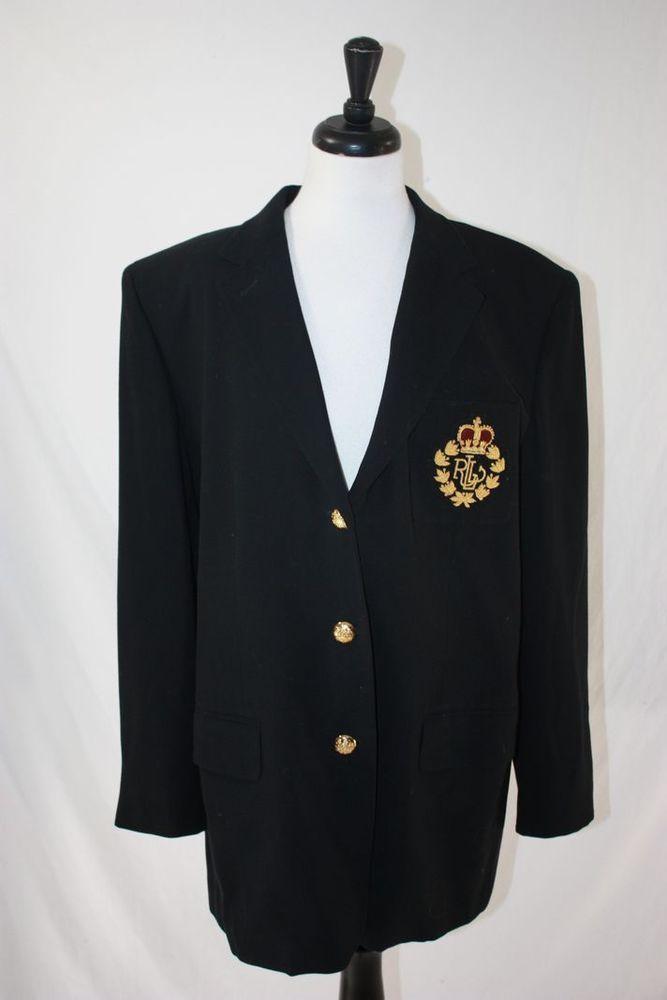 VTG Lauren Ralph Lauren Womens Wool Blazer Jacket Crest Logo, 3 Button Gold, 18W #RalphLauren #Blazer