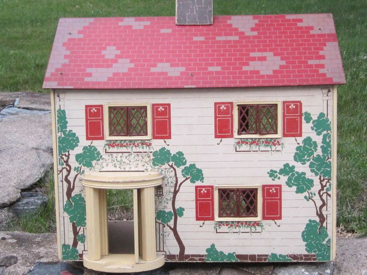 Vintage Large Keystone Rich Dollhouse 1930s Six Rooms