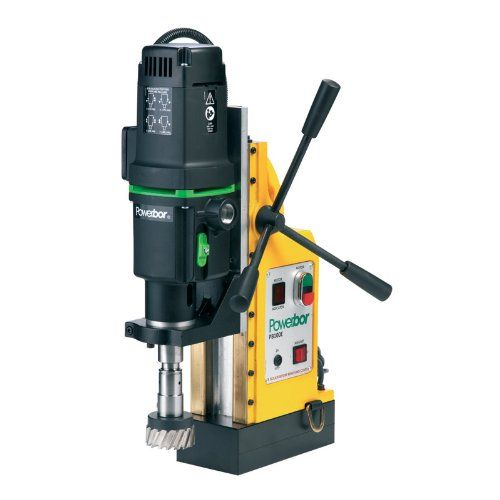 "G&J Hall Tools PB1000E Powerbor Electromagnetic Drill Press, 4"" Cutting Capacity, 110V, 4-1/4"" Width x 18-7/8"" Height x 12-1/2"" Depth  PB1000E electromagnetic drill press has a larger cutting capacity than the PBC700 model at 4"" and has a 1700-watt motor  Press runs at four speeds for a variety of applications  Magnetic adhesion is 4400 lb. for a secure hold  Reversible stroke handle, safety strap, and easy-access control panel for ease of use  Comes with carrying case, cutting fluid, ..."