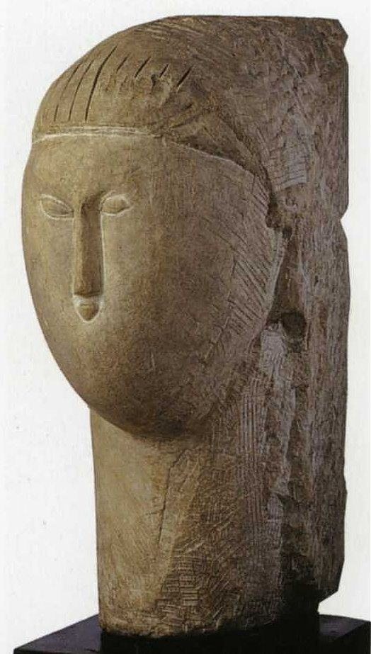 Amedeo Modigliani, Head, 1910-11, stone, (51x25x36 cm) collection of Gwendolyn Weiner (Ceroni I)