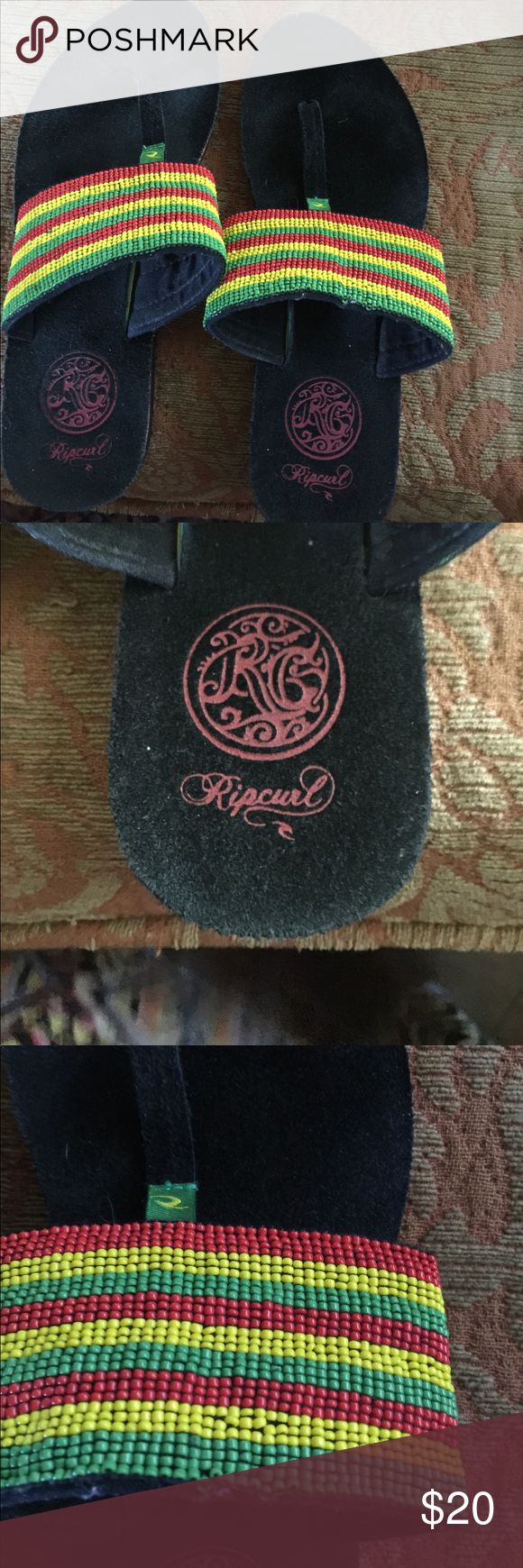 Rip curl things with Bob Marley bead colors! Rip curl things with Bob Marley bead colors! Suede soles worn 1 x ripcurl Shoes Sandals