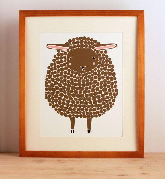 Brown Sheep Illustration Nursery Art Children Decor by Gingiber