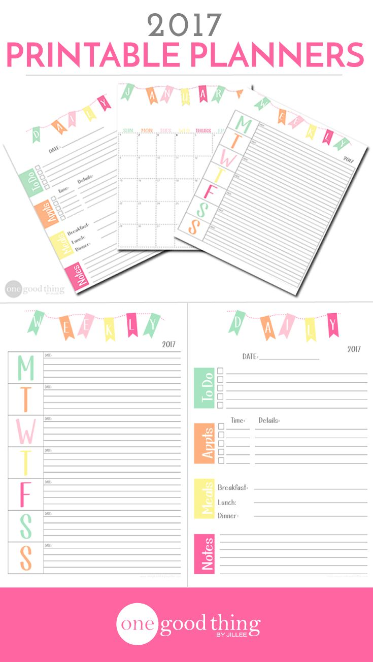 FREE Printable Planners for 2017!