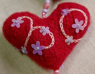 embellished felted heart