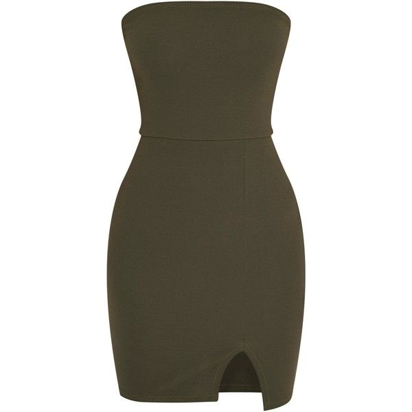 Layala Khaki Split Detail Bandeau Bodycon Dress (£1.50) ❤ liked on Polyvore featuring dresses, vestidos, bodycon dress, body conscious dress, bandeau dress, body con dresses and bandeau bodycon dress